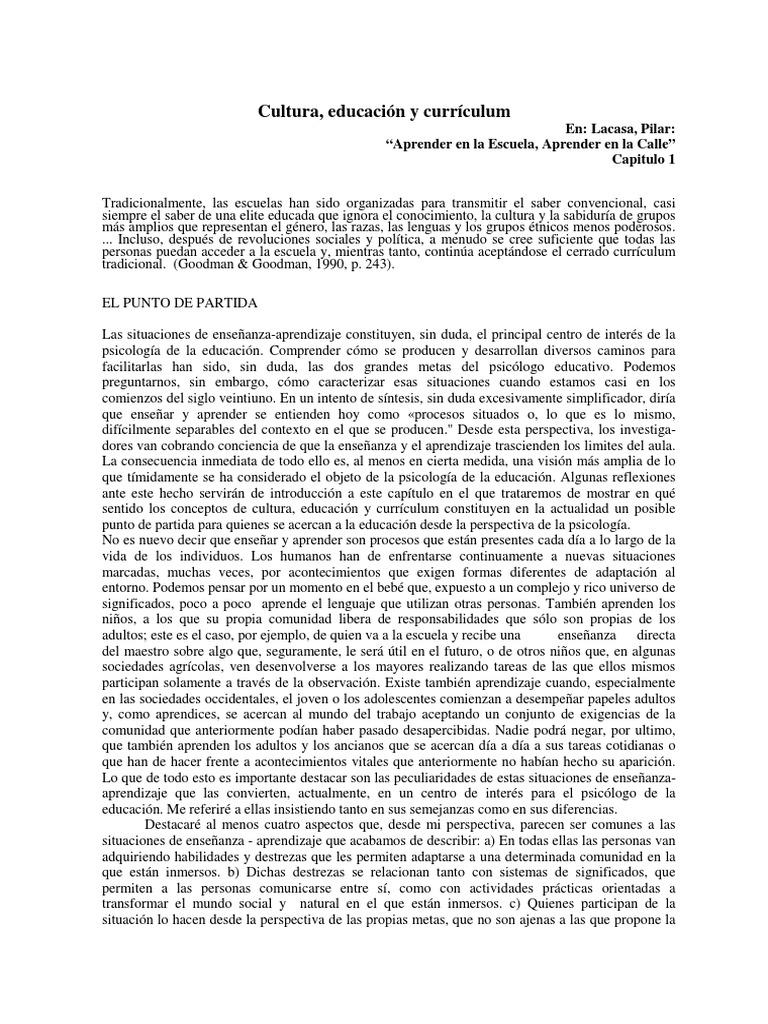 Cultura, Educación y Curriculum, Pilar Lacasa