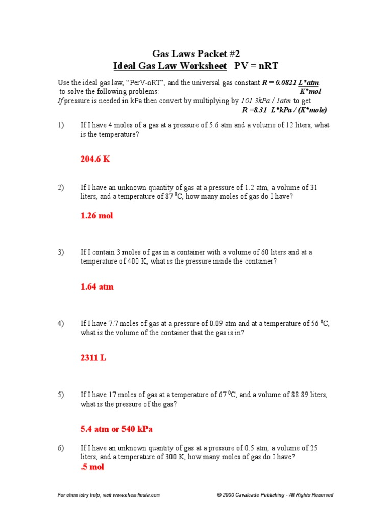 Gas Laws Packet 2 ANSWERS Gases – Ideal Gas Law Worksheet