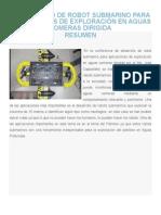 Desarrollo de Robot Submarino Para Aplicaciones de Exploración en Aguas Someras Dirigida