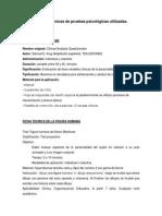 Fichas Técnicas de Pruebas Psicológicas Utilizadas