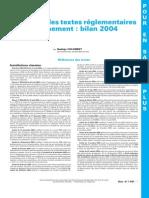 Inventaire Des Textes Réglementaires en Environnement - Bilan 2004