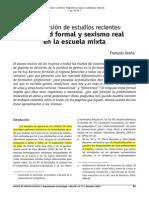 Igualdad Formal y Sexismo Real en La Escuela Mixta. Una Revisión de Estudios Recientes
