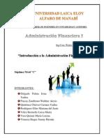 1 Introducción a La Administración Financiera