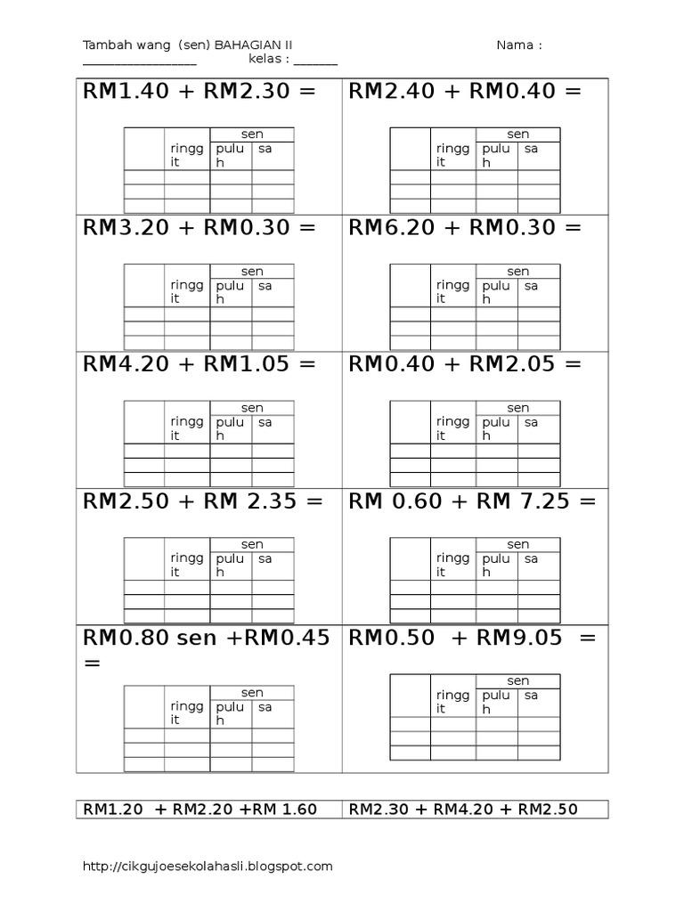 Lembaran Kerja Matematik Tahun 1 Duit Doc