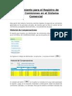 Procedimiento Para El Registro de Pago de Comisiones en El Sistema Comercial