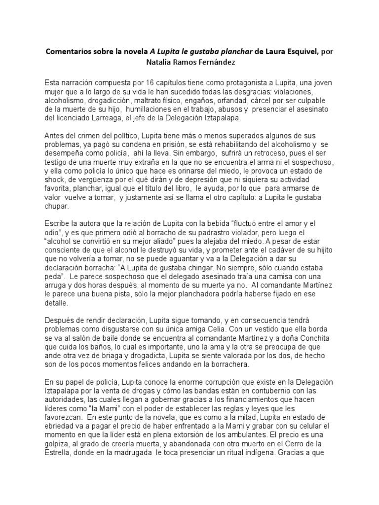 Comentarios Sobre La Novela A Lupita Le Gustaba Planchar De Laura Esquivel Violación Alcoholismo