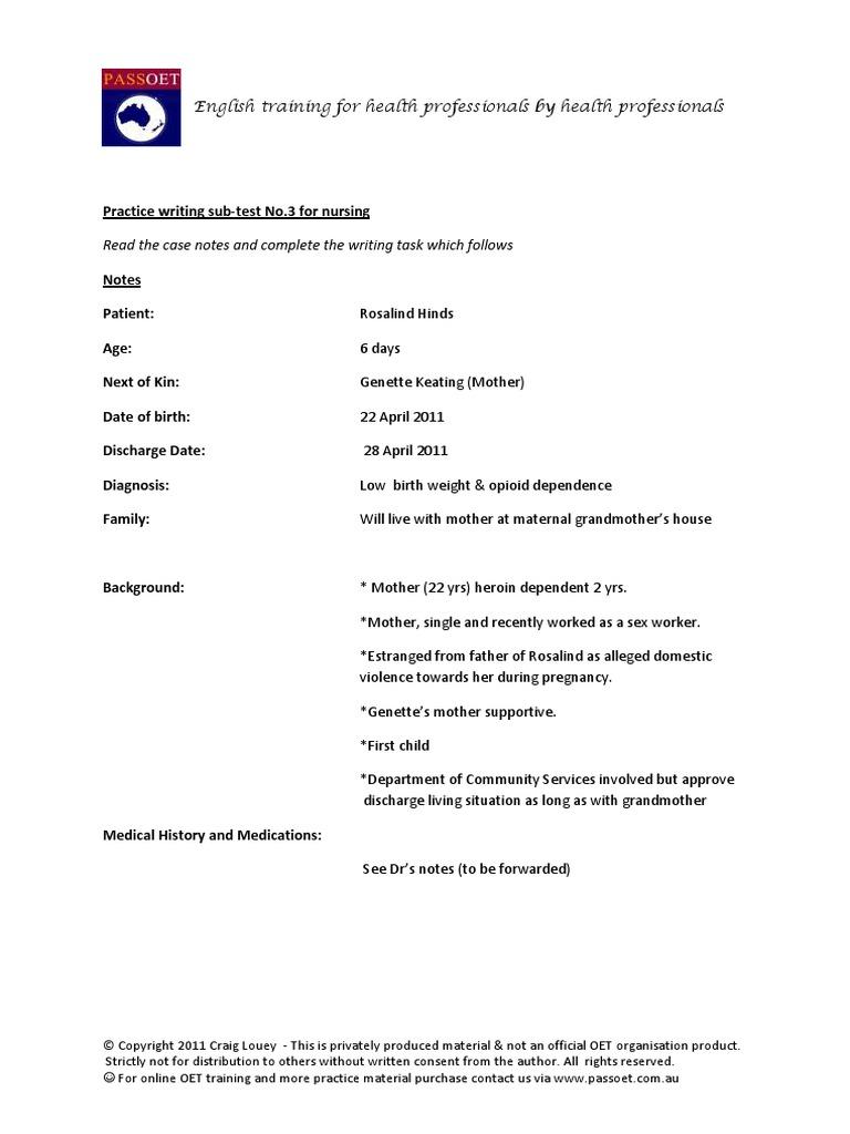 Nurse Writing 003 OET Practice Letter by PASS OET | Bebês