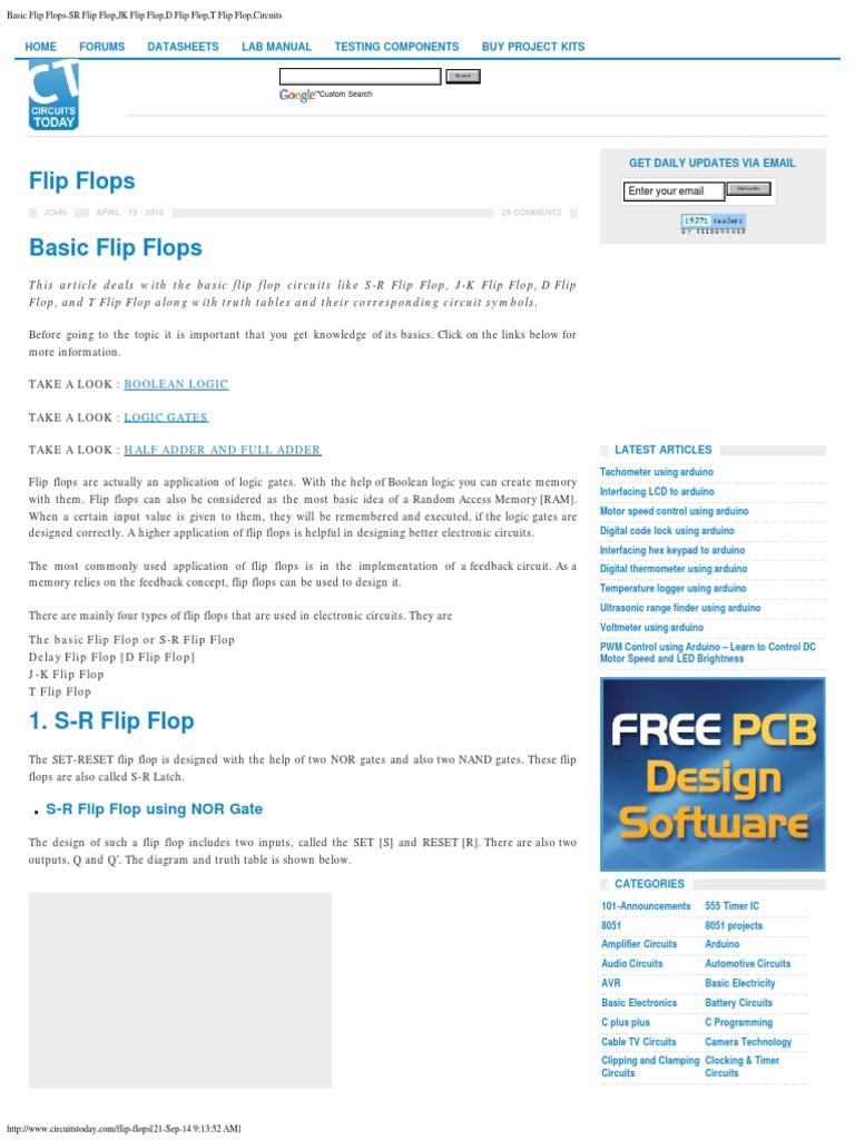 Basic Flip Flops Sr Flopjk Flopd Flopt Flop The Free Encyclopedia Electronic Circuit Design Software Flopcircuits Circuits Digital Electronics