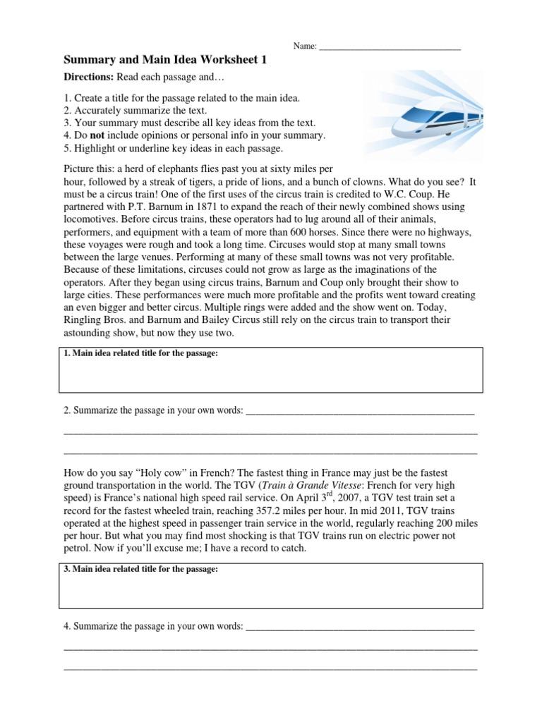 worksheet Summary And Main Idea Worksheet 2 worksheet main idea 4 thedanks for everyone summary and 1 tram circus