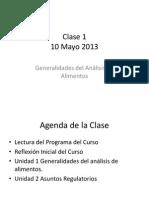 Clase 1 10 May 2012 Introducción Análisis de Alimentos