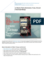 Electrical-Sizing the DOL Motor Starter Parts Contactor Fuse Circuit Breaker and Thermal Overload Relay