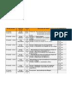 calendarização das tarefas