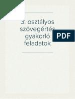 3. osztályos szövegértés gyakorló feladatok