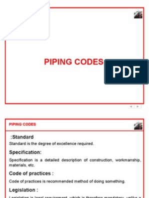 Piping-Codes pdf | Pipe (Fluid Conveyance) | Specification