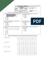 PRUEBA DE FRACCIONES Y DECIMALES 5° BASICO