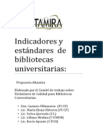 Indicadores y Estándares Bibliotecas Universitarias Propuesta Altamira
