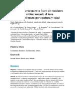 Estudio Del Crecimiento Físico de Escolares a Moderada Altitud Usando El Área Muscular Del Brazo Por Estatura y Edad