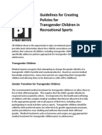 Guidelines for Creating Policies for Transgender Children in Recreational Sports