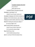 gsrp academic calendar 2014