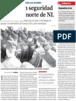 22-09-2014 Reforzarán seguridad en la zona norte de NL