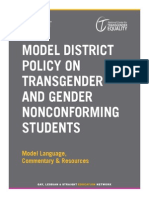 GLSEN Model District Policy on Transgender and Gender Nonconforming Students - 2013
