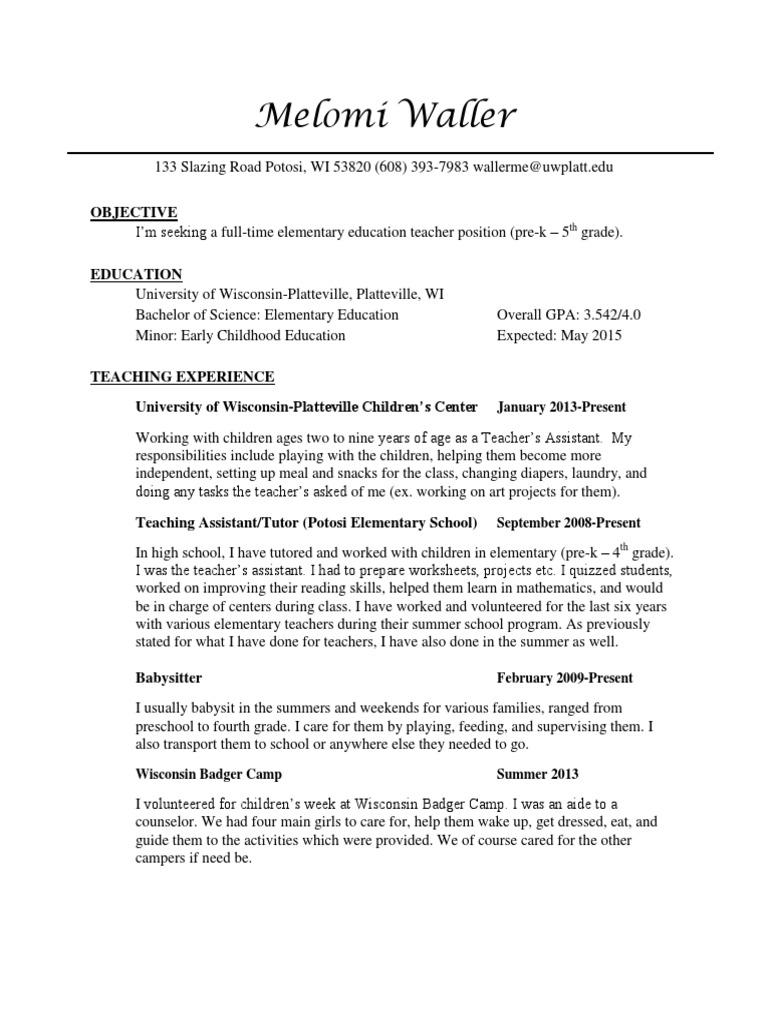 Resume | Caregiver | Teachers