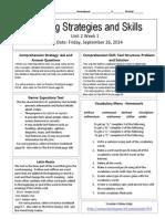u2w1 reading skills and strategies