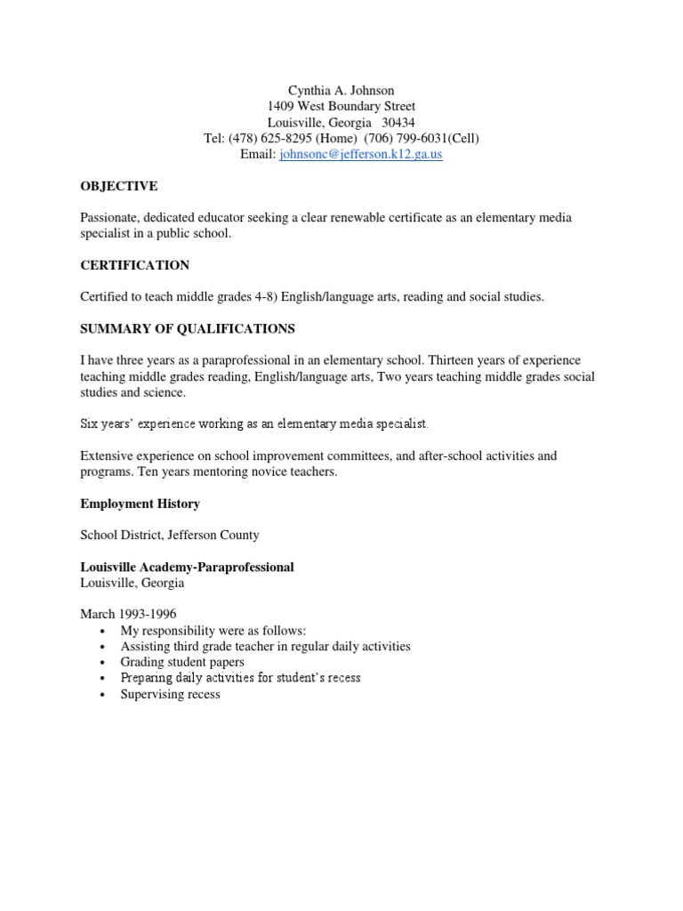 Cynthia johnson resume educational stages teachers xflitez Image collections