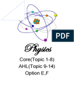 Physics Core AHL and Option