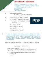 CM1502 Tutorial 7 Solutions Electrochemistry