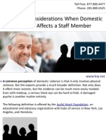 Employer Considerations When Domestic Violence Affects a Staff Member