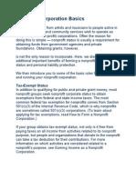 Nonprofit Corporation Basics