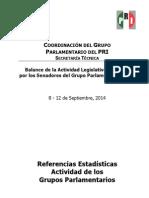 23-09-14 BALANCE DE LA ACTIVIDAD LEGISLATIVA GPPRI 8 AL 12 SEPTIEMBRE
