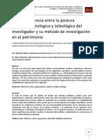 Correspondencia entre la postura onto-epistemológica y teleológica del investigador y su método de investigación en el patrimonio