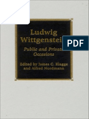 Wittgenstein Ludwig Public And Private Occasions Rowman