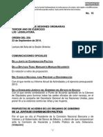23-09-14 Orden Del Día - C. de Diputados