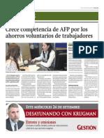 Crece Competencia de AFP Por Ahorros Voluntarios_Gestión 23-09-2014