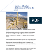 Problemas Técnicos Dificultan Instalación de Bombas en Planta de Aguas Servidas