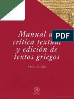Bernabe Alberto - Manual de Critica Textual Y Edicion de Textos Griegos