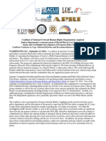 Coalition of National Civil and Human Rights Organizations Applaud Justice Department's Announcement of Racial Bias in Law Enforcement Study and Civil Rights Investigation of Ferguson Police Department