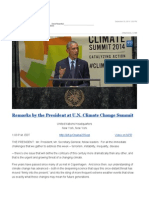 Remarks by the President at U.N. Climate Change Summit