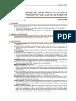 Codex Para La Utilizacion de Productos Proteinicos y Vegetales en Los Alimentos.