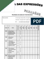 Resultados da sessão de 10 de Dezembro