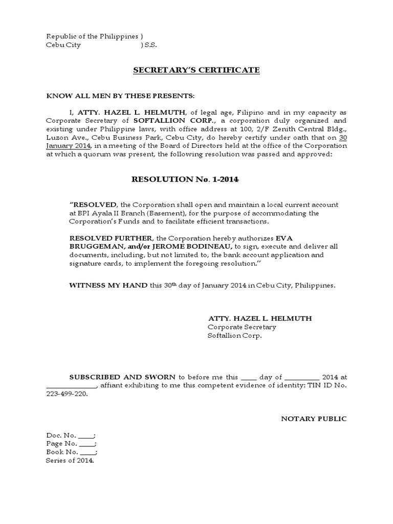 Secretarys certificate to open a bank account yelopaper Choice Image