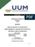 capital Budgetting Report