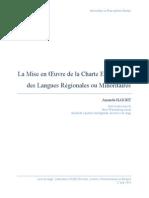 La Mise en Œuvre de la Charte Européenne des Langues Régionales ou Minoritaires