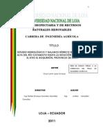 Estudio Hidrológico y Balance Hídrico de La Cuenca