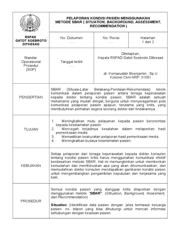 picture relating to Sbar Printable Forms named Pelaporan Kondisi Pasien Menggunakan Metode Sbar