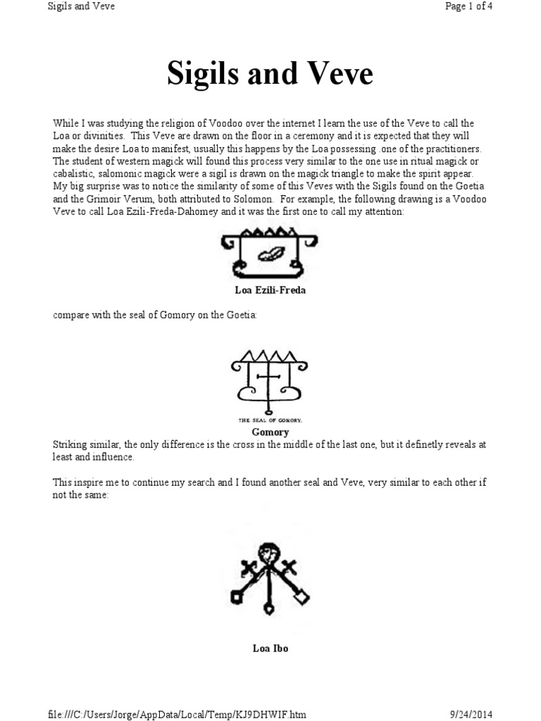 Veves And Sigils Part One Haitian Vodou Magic Paranormal