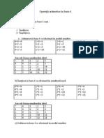 Operaţîi aritmetice în baza 4